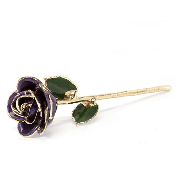 Gold-Dipped Natural Purple Rose