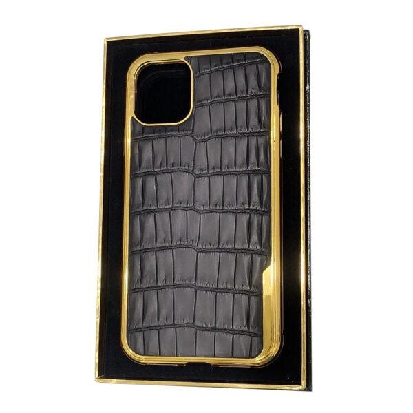 iPhone 11 Pro Gold Crocodile Black Leather Casing