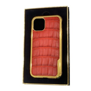 Luxury Gold iPhone 11 Pro and Pro Max Casing with Red Crocodile Leather