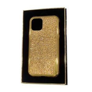 Luxury Gold iPhone 11 Pro and Pro Max Casing with Full Rose Peach Crystals