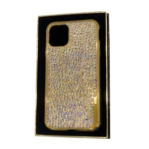 Luxury Gold iPhone 11 Pro and Pro Max Casing with Full White Crystals