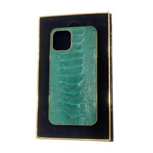 Luxury Gold iPhone 11 Pro and Pro Max Casing with Ostrich Brilliant Green Leather