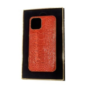 Luxury Gold iPhone 11 Pro and Pro Max Casing with Red Ostrich Kopp Leather
