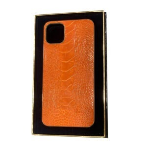 Luxury Gold iPhone 11 Pro and Pro Max Casing with Orange Ostrich Leather