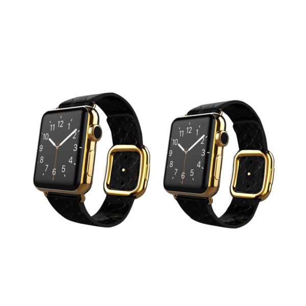Gold Apple Watch Series 6 with Black Python Strap