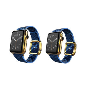 24K Gold Apple Watch Series 6 with Blue Python Strap