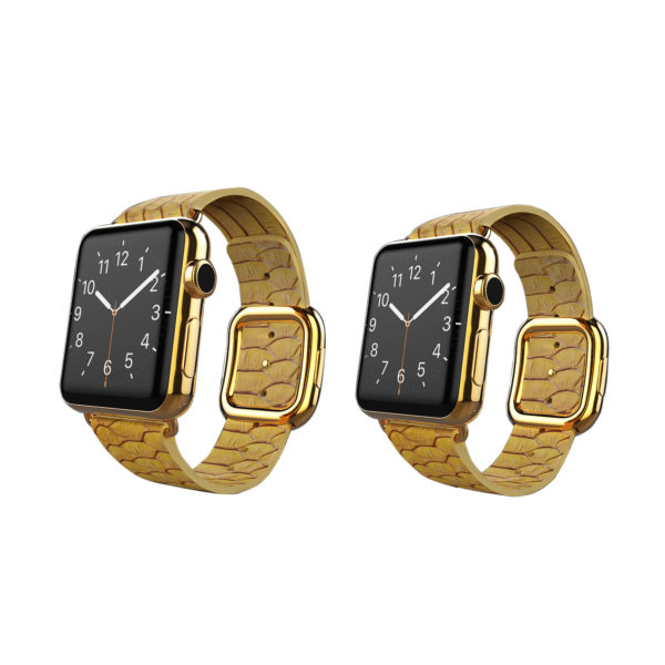 24K Gold Apple Watch Series 6 with Gold Python Strap