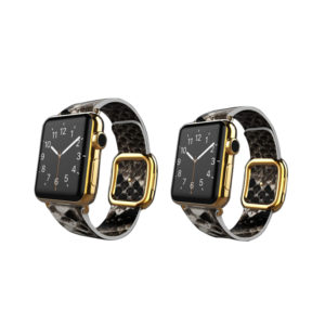 24K Gold Apple Watch Series 6 with Natural Python Strap