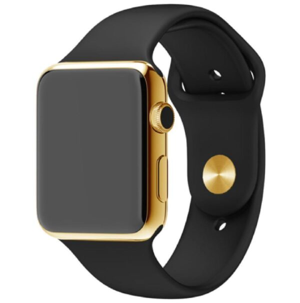 24K Gold Apple Watch Series 6 with Black Sport Band