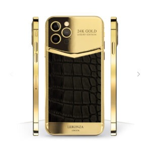 24k Gold iPhone 12 Pro Black leather Victory